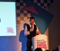 Guardian Head of Audio, Matt Wells, opened the wards ceremony for Alan Rusbridger, who went down with food poisoning.