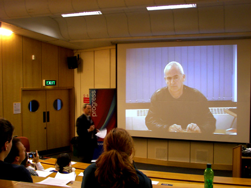 Nick Davies, author of Flat Earth News, talks to the conference via video link. | Photo: Shane Croucher