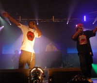 Dizzee Rascal on stage with Radio 1's DJ Semtex and MC Scope. Photo: DJ Semtex