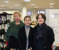 From left to right: Gabriella Goransson, Yuka Kawai & Eva Schjolberg. The Cultex designers take a tour of Lincoln University's School of Art and Design.