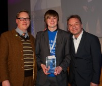 Dane poses with Vic and Bob as he receives his BBC Journalism Award at the BBC Create and Connect Conference at Teeside University | Photo: BBC
