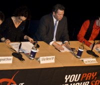 The three main-party candidates for Lincoln's parliamentary seat gathered for a debate at the LPAC on Thursday, February 11th. | Photo: Dec Ackroyd