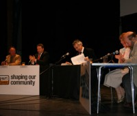 The four candidates and chair, Andrew David, at the Drill Hall