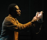 "Clint Dyer gave a harrowing performance as Delroy, a black man arrested under the Sus laws at the LPAC in ""SUS"". Photo: Robert Day"