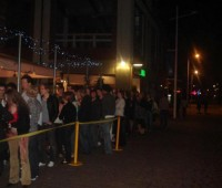Students queueing outside Quayside for a Fatpoppadaddy's event.