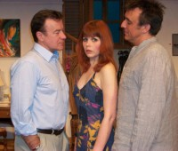 "Christopher Villiers and Matt Healy of ""Emmerdale"" star with Michelle Morris in ""Inside Job"". Photo: Amelia Highfield"