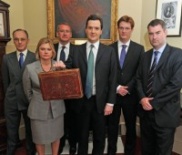 George Osborne displays the budget box before announcing plans to slash spending. Photo: The Prime Minister's Office