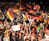 Germany fans celebrate their win against Ghana on Wednesday night. Next up is a mouthwatering tie against the English. Photo: SpreePIX media