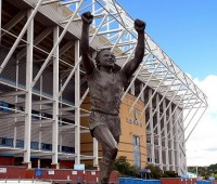 The famous statue of Billy Bremner will greet travelling Lincoln fans as they make their way to Elland Road for the first time in nearly 40 years. Photo: Chris Robert Shaw