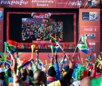 Soweto fan park saw thousands of people enter into it to watch all of the big games throughout the World Cup. Photo Frederic Jon
