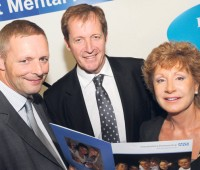 Alastair Campbell with Chris Slavin and Eileen Ziemer, board members of Lincolnshire Partnership NHS Foundation Trust, at the trust's annual public meeting in Lincoln. Photo: LPNHSFT