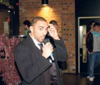 Andreas Zacharia giving his victory speech in March's SU elections. Photo: Sam Cox