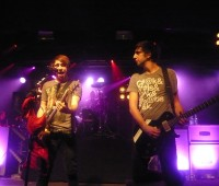 Alex Gaskarth and Jack Barakat, vocalist and guitarists of All Time Low on stage at Nottingham Rock City. Photo: RC