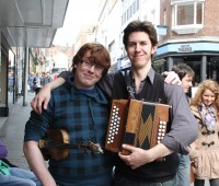 Busking is a living for Tim Yates and Paul Young from Blackbeard's. Photo:Samantha Viner