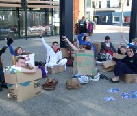 RAG spend 12 hours in boxes outside the MHT building. Photo: Jessica Bode