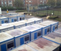 The cabins at Delph Gardens ready to be removed. Photo: The Linc