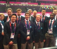 Rickie Bailey (third from left in the back row) is one of the many volunteers helping out at the Olympics. Photo: Rickie Bailey