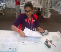 Sabra Abukalid volunteering as part of the press team at the Olympics. Photo: Sabra Abukalid