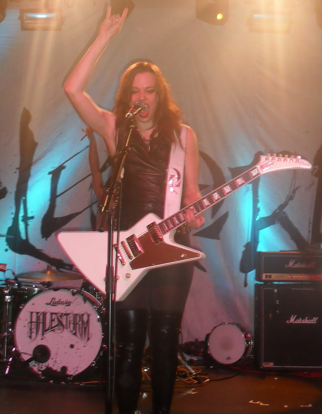 "Halestorm's lead vocalist, ""Lzzy"" gets the crowd going. Photo: Sam Coombes"