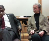 Mike Abiola (left) in conversation with Professor Richard Keeble.
