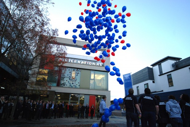 A balloon launch to celebrate the university's partnership with Santander