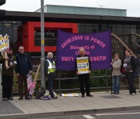 University staff on the picket line at the last strike. Photo: Rachel Sloper
