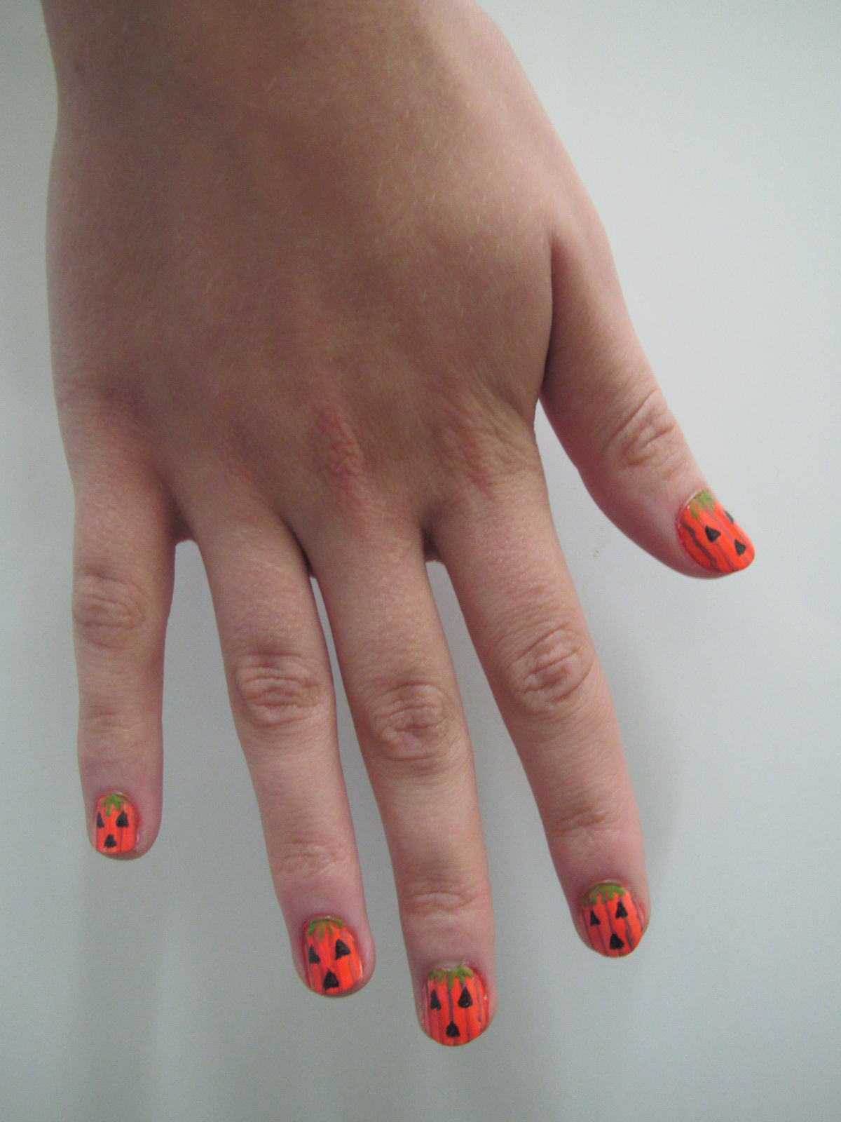 Pumpkin nails. Photo: Rebecca Roe
