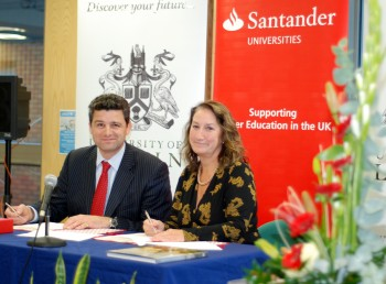 The University of Lincoln's Vice Chancellor, Professor Mary Stuart with the Deputy Director of Santander Universities UK, Simon Bray at the signing