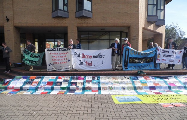 The drone protest outside Lincoln Magistrates Court. Photo: Emma Keller