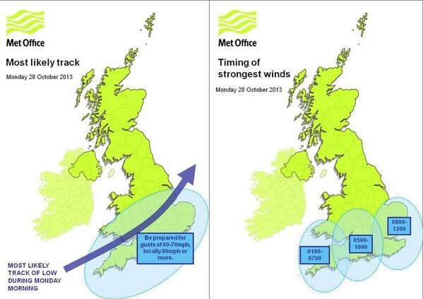 The Met Office warn South England will be most badly affected, with the bad weather sweeping up towards Lincolnshire. Photo: Met Office