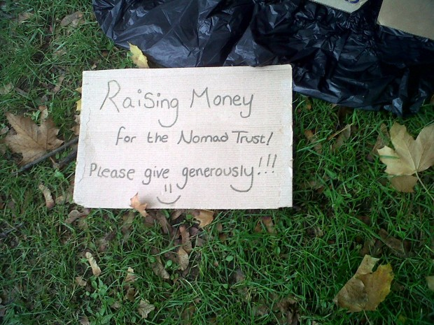 A sign the students held to help raise money. Photo: Kellie Pyart