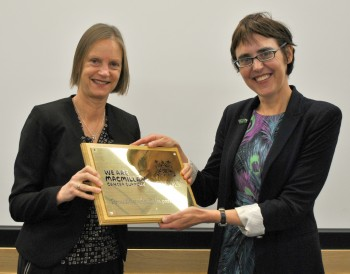 Professor Sara Owen (left) from the University and Juliet Bouverie from Macmillan.