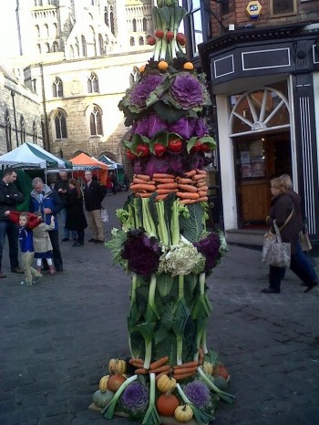 The vegetable tower built to raise money for Lincoln Cathedral. Photo: Kellie Pyart.
