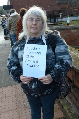 Jane Hill - One of the protesters against Atos. Photo: Philip Wilson-Smith