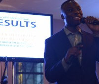 Current SU President Dan Sam hosting the election results. Photo: Alexandra Lzr