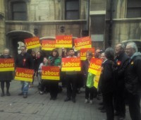 Labour campaigners outside Guildhall
