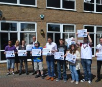 anti-cuts protesters outside the Bishop Grosseteste Students' Union building