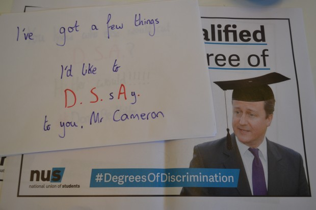 """I've got a lot of things to DS-say to Mr Cameron"", says poster"