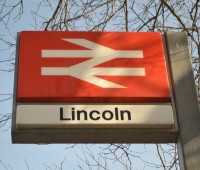 National Rail sign outside Lincoln station