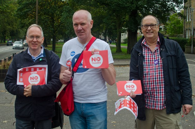 "Better Together activists warn of dire edonomic consequences if Scotland should leave the UK. ""Salmond promises better welfare with independence, but how can we pay for it if we lose business?"" asks Mike Brown (middle)"