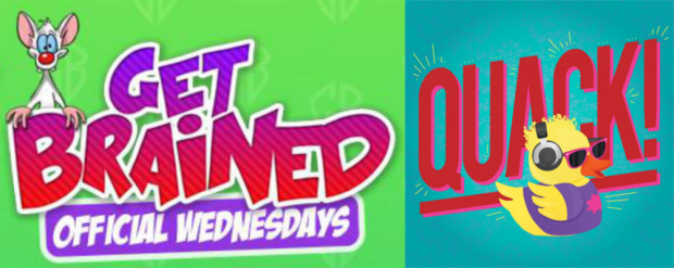 Promotional logos for Get Brained and Quack