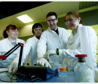 Happy-looking science researchers