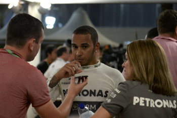 The making of a World Champion: Lewis speaks to the press. Photo: Nick Webb via Flickr