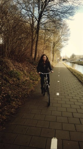Getting to grips with the bikes in Zwolle is a real challenge she says. Photo: Cat Talbot