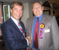 Nick Smith (right) hopes to ride a purple wave to victory in Lincoln. here with UKIP leader Nigel Farage (left).