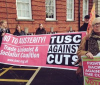 Elaine Smith (on the right) stands for the Trade Unionists and Socialists Coalition in Lincoln.