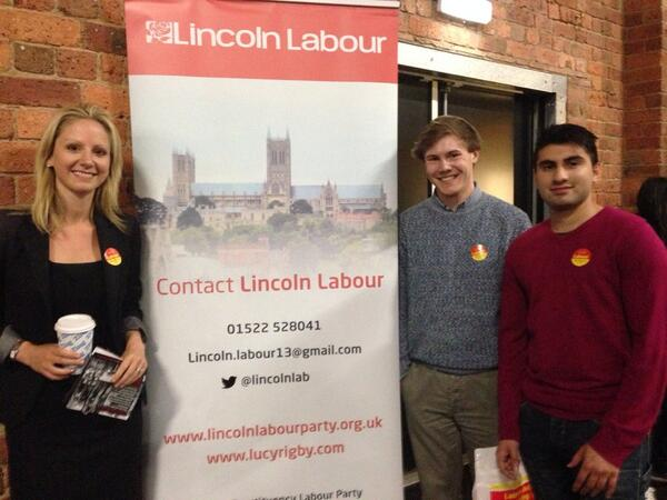 Lucy Rigby campaining with Labour activists at the university.