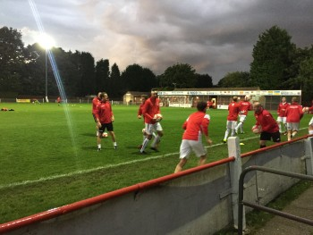 Lincoln United warming up ahead of their 1-1 draw (Photo: Nick Lough)