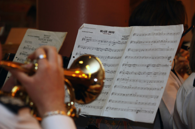cornet playing sheet music