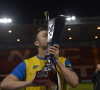 University of Lincoln Captain Josh Vamplew celebrating with the Cathedral Cup. Photo: Adam Allcroft